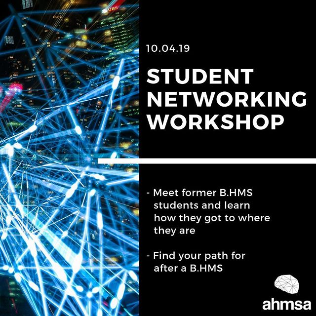 Let's face it, Health and Medical Sciences can be a bit overwhelming; so many majors to choose from, and only a vague idea of where it can take you afterwards! It's hard to know what's waiting for once you've graduated, or how you can get to where you want to go. ⠀ At our Student Networking Workshop you'll be able to talk to many former B.HMS students to learn what they do now, how they got there, and how a B.HMS has helped get them there. Through this, we hope the path for you through, and after, a B.HMS becomes much clearer! ⠀ ⠀ Register your interest at: http://theahmsa.org/workshop  Further information at: https://www.facebook.com/events/2264841723803224/