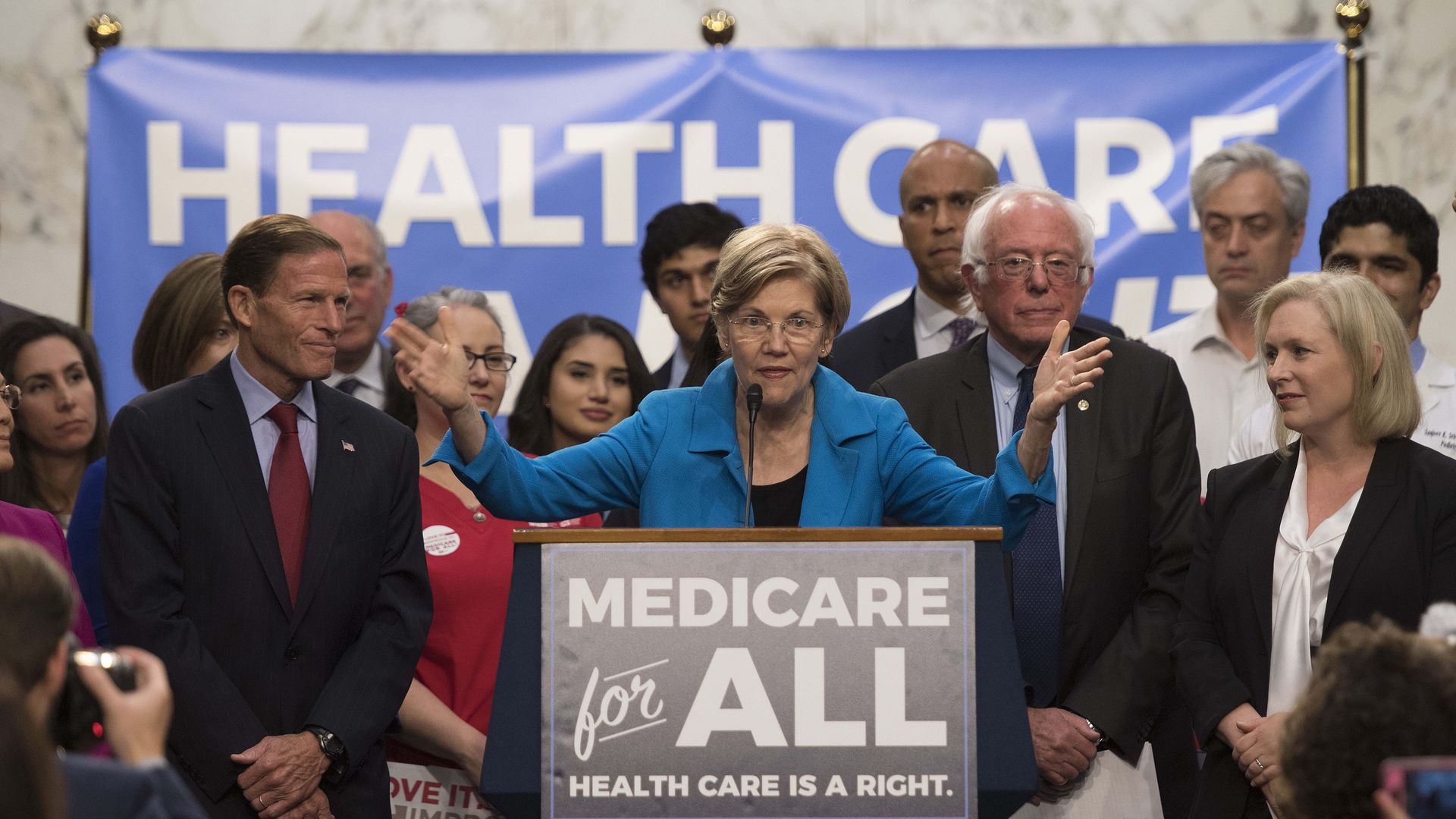 Democrats discuss Medicare for All legislation on Capitol Hill last year. Photo: Jim Watson/AFP/Getty Images
