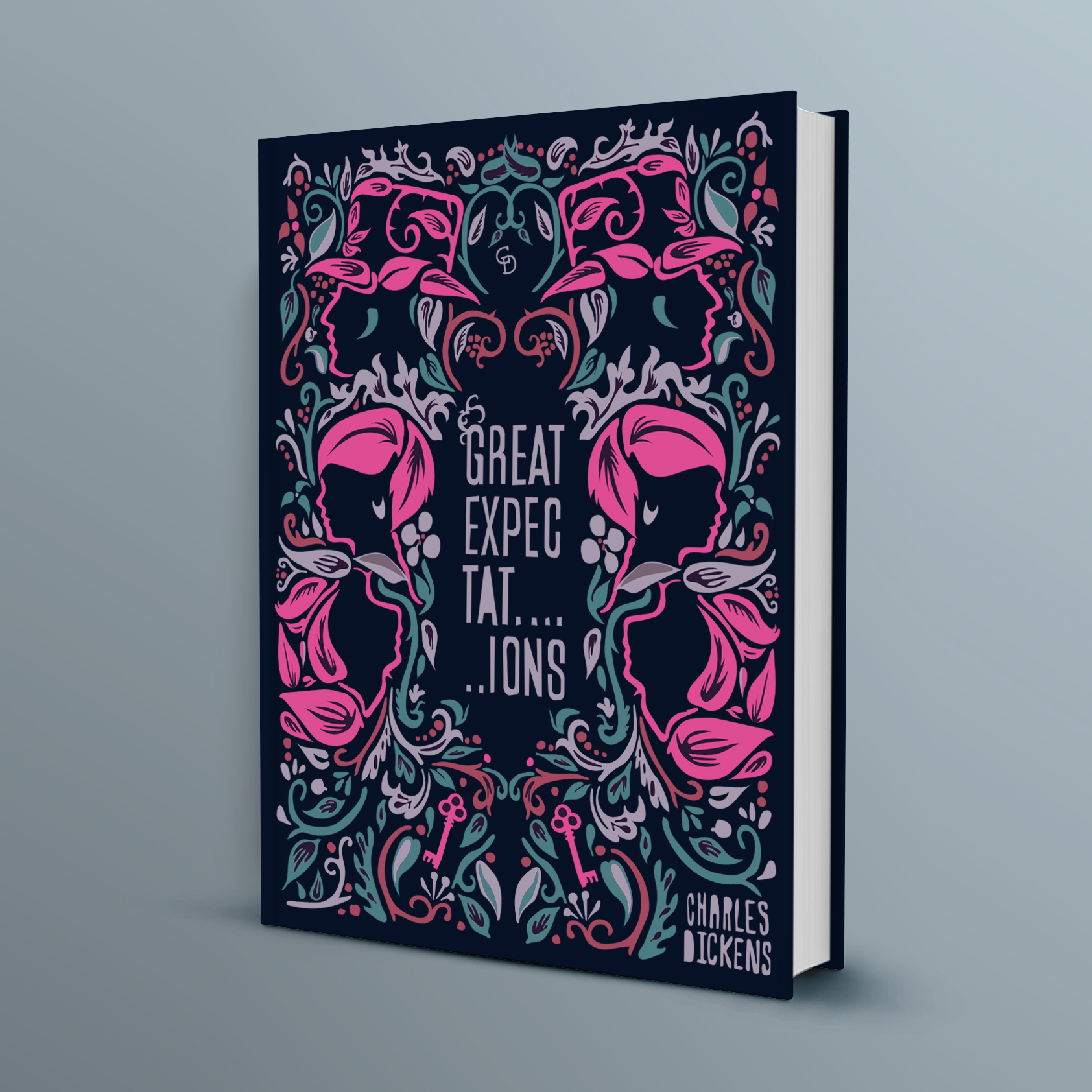 - A revamp of Great Expectations by Charles Dickens using a hand drawn William Morris inspired pattern. The Characters and the mansion key are highlighted in a vibrant hot pink to modernise the design. Title and author are also hand drawn to maintain the illustrative approach.