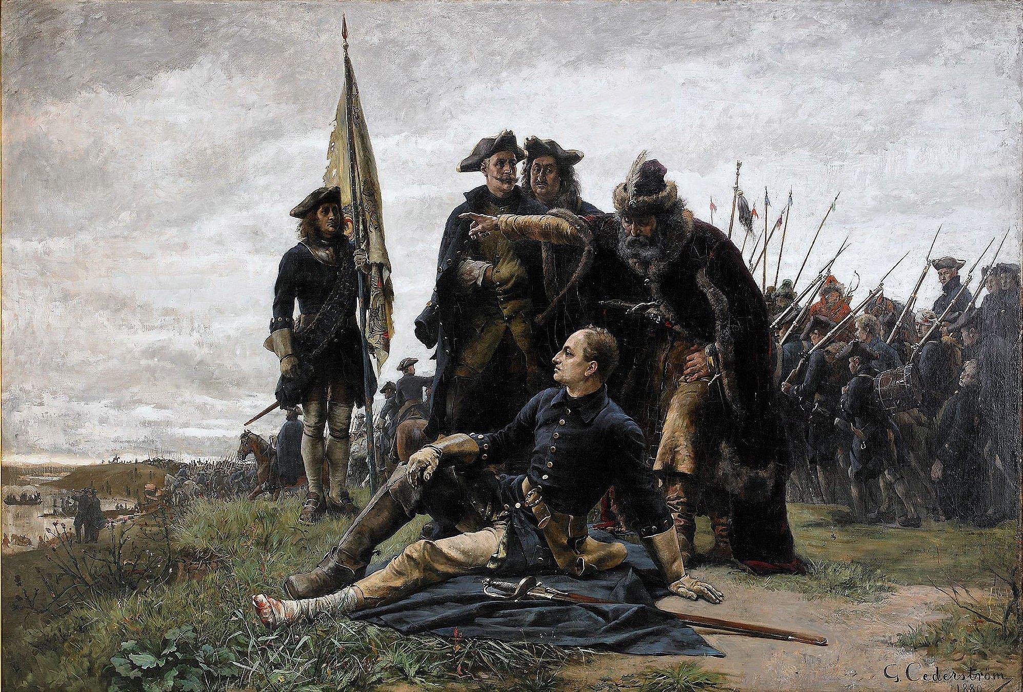 Karl XII och hans allierade, kosackledaren Ivan Mazepa efter nederlaget mot de ryska trupperna vid Poltava. Målning av Gustaf Cederström, cirka 1880. Under den nationalromantiska perioden i slutet av 1800-talet uppstod en vurm för hjältekungen Karl XII och den adlige Gustaf Cederström blev en av de största bärarna av den bilden.