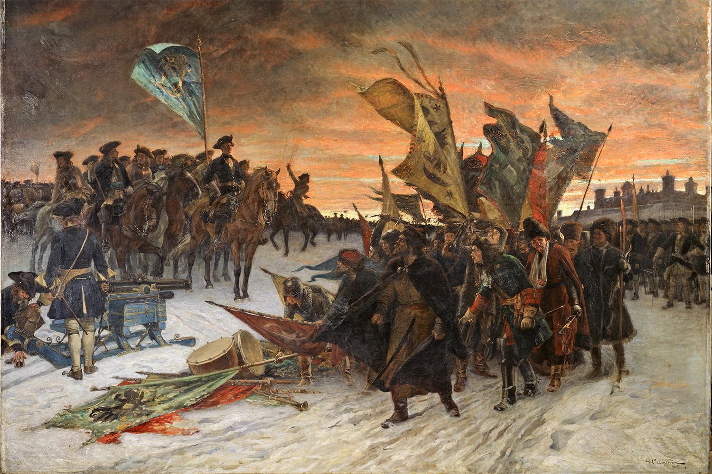 Ryska soldater lägger ned sina fanor framför Karl XII vid Narva. Gustaf Cederström, 1910. Nationalmuseum.