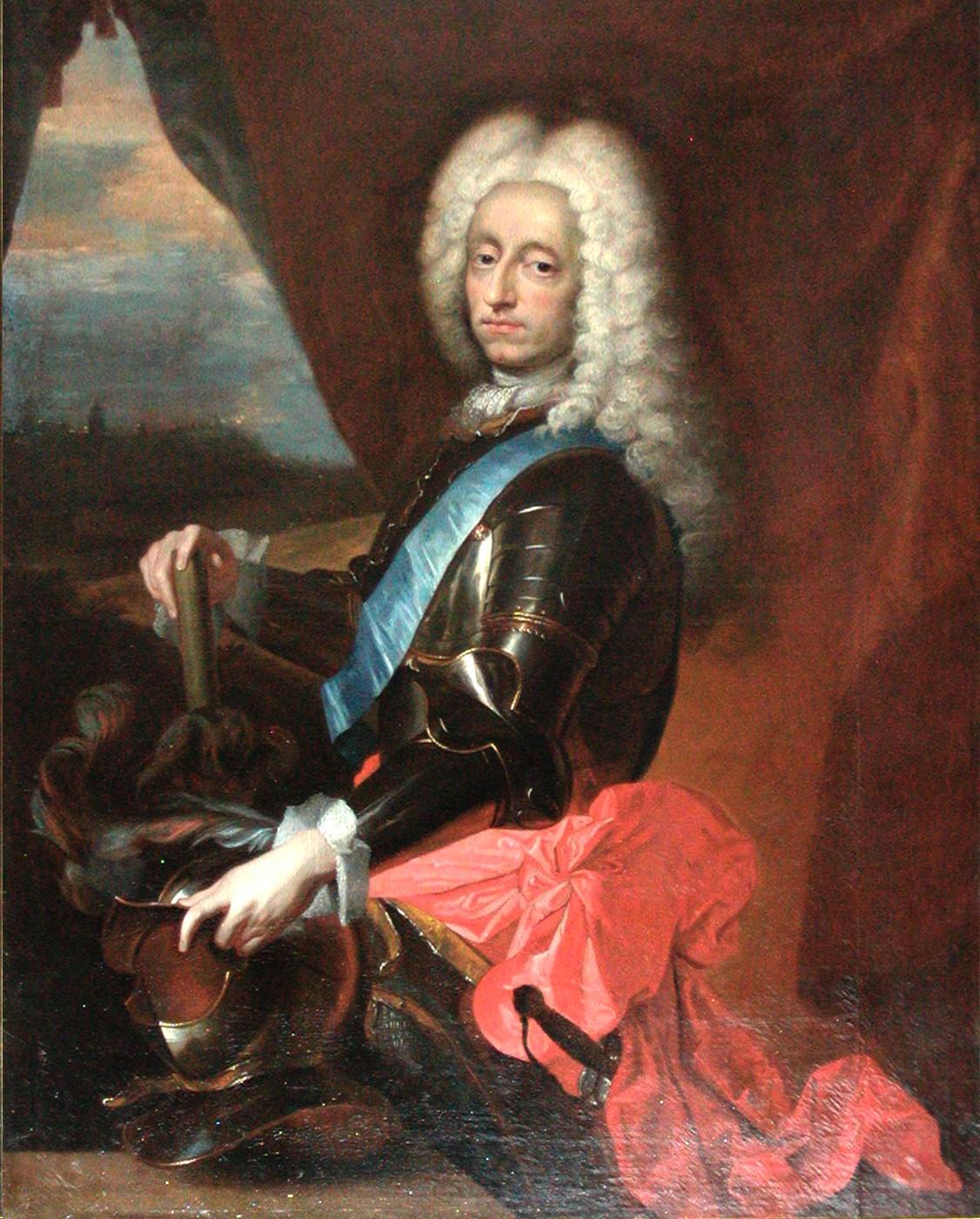Fredrik IV av Danmark, son till Kristian V och kung från 1699. Rosalba Carriera. Det Nationalhistoriske Museum, Fredriksborgs slott.