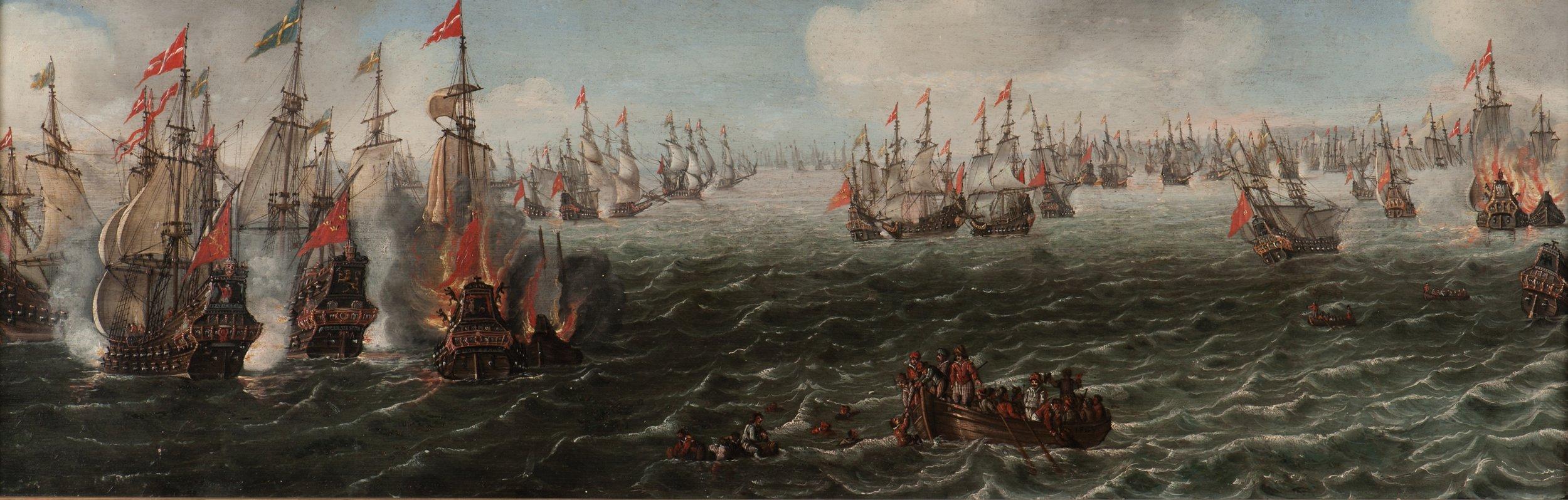 Slaget vid Femern 1644 mellan Danmark och Sverige, en av den svenska flottans största segrar någonsin. Målningen är troligen utförd vid samma tid av Jan van de Velde IV. Sjöhistoriska museet.