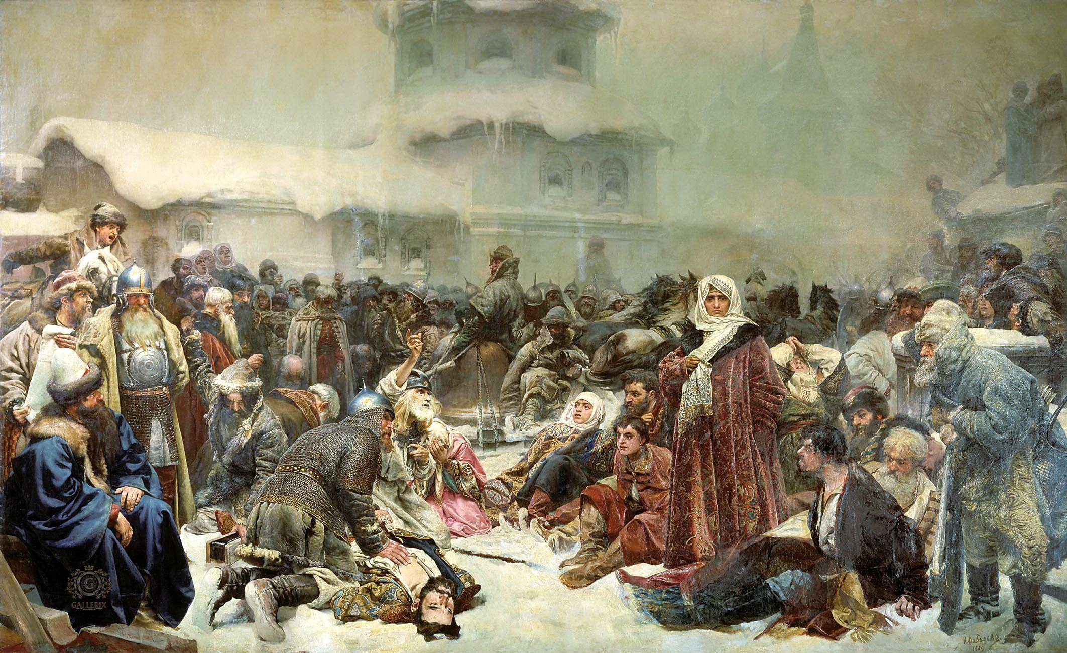 Massakern i Novgorod 1471 anses vara ett av de grymmaste och mest brutala anfallen på en civilbefolkning under Ivan den förskräckliges regeringstid och spädde säkert på den svenska rysskräcken. Målning av Klavdyi Lebedev, cirka 1900. Tretyakov gallery..