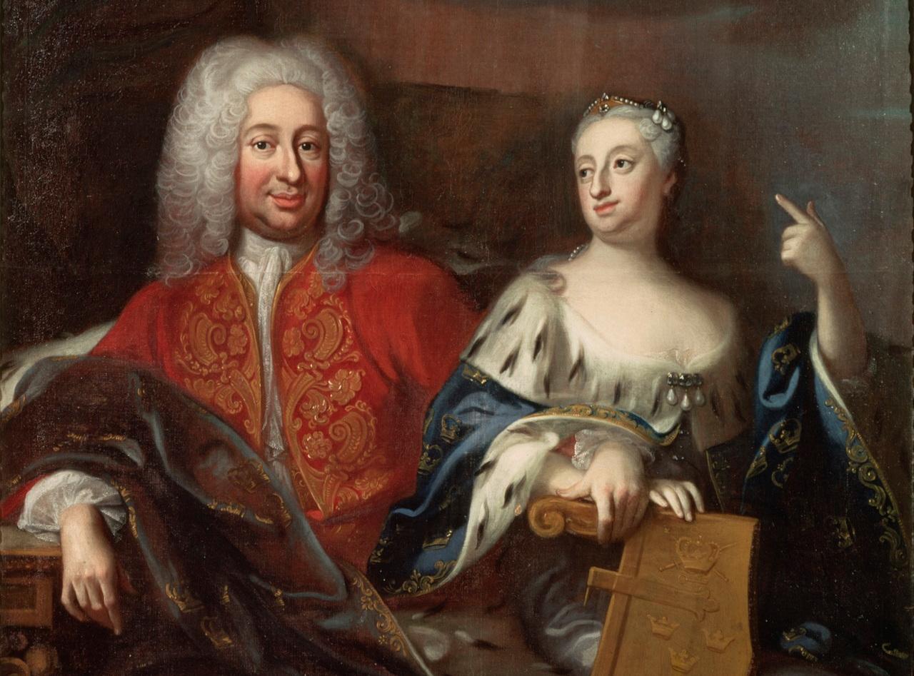 Efter Karl XII:s död i november 1718 tog hans syster Ulrika Eleonora över kronan och ville dela tronen med sin man, Fredrik av Hessen. Målning av Georg Engelhard Schröder, Nationalmuseum.