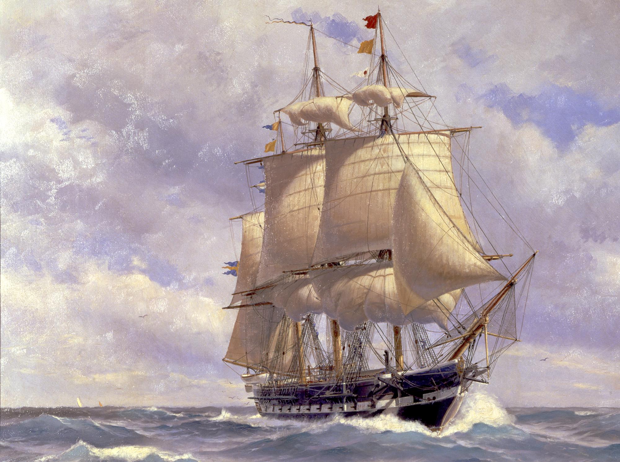 Den sista seglande fregatten i kronans tjänst, Norrköping, målad 1909 av Jacob Hägg.