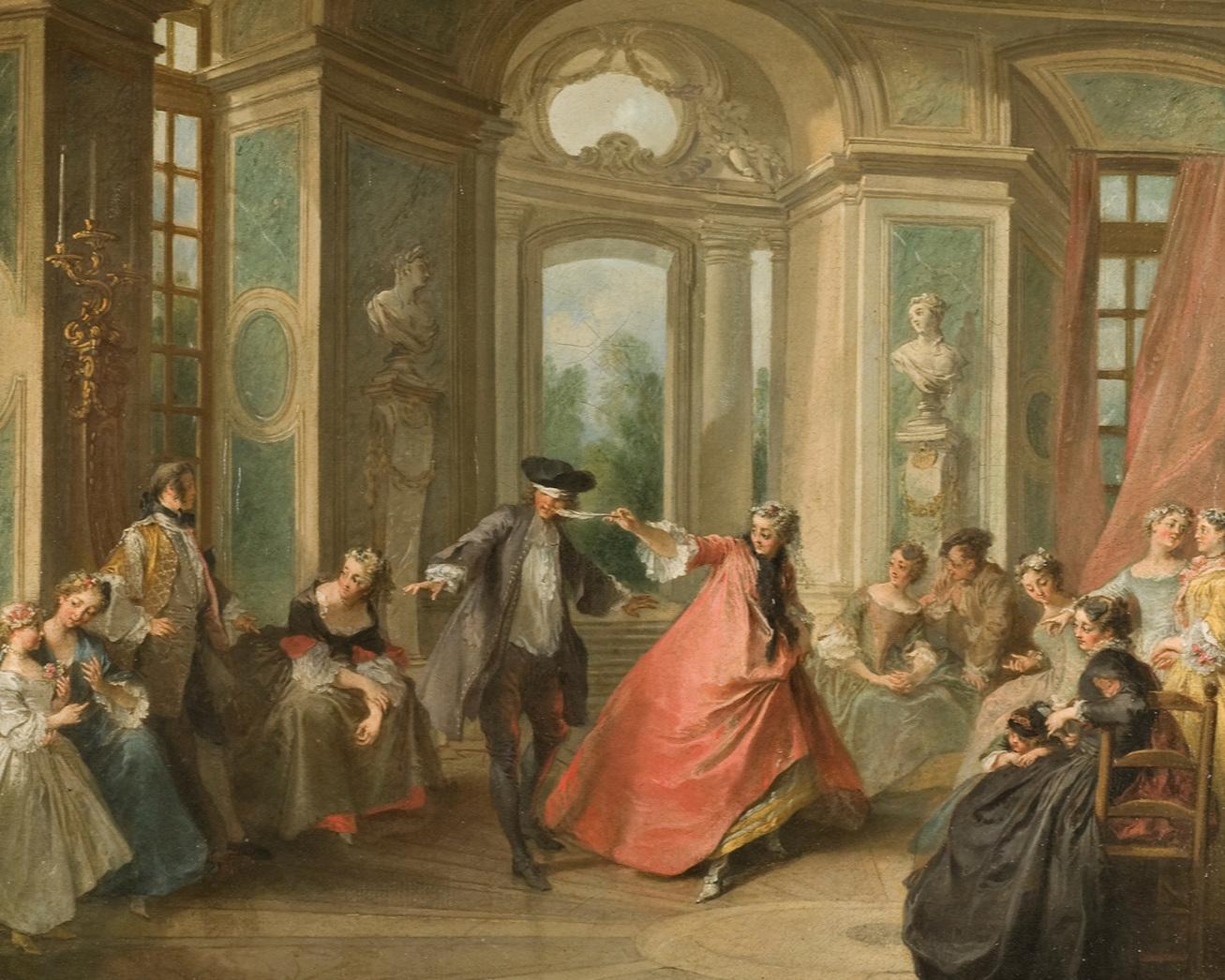Lekfulla scener där tidens samhällselit roade sig var en populär genre i början av 1700-talet. Blindbock av Nicolas Lancret, cirka 1730. Nationalmuseum.