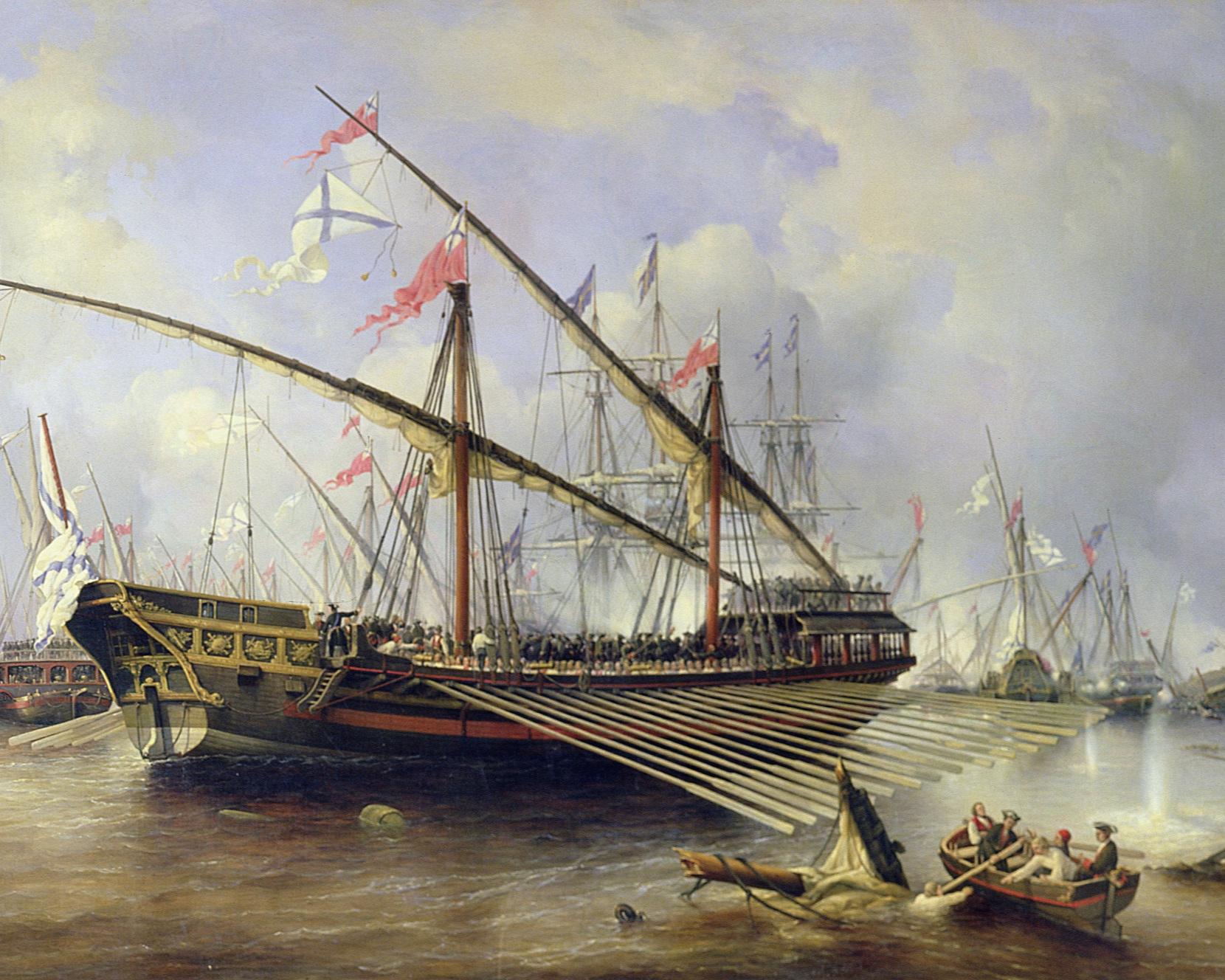 Målningen av Ferdinand Victor Perrot föreställer ett av de sista slagen mellan svenska och ryska flottan i Nordiska kriget, slaget vid Ledsund på Åland 1720. Huvudmotivet är en rysk galär men bakom den skymtar vi större slagskepp. Galären var synnerligen lämpad för krigföring i skärgården eftersom den är grundgående och jämförelsevis lättmanövrerad. Perrot var främst verksam på 1830-talet, alltså 110 år efter slaget. Ryska centrala marinmuseet, S:t Petersburg.