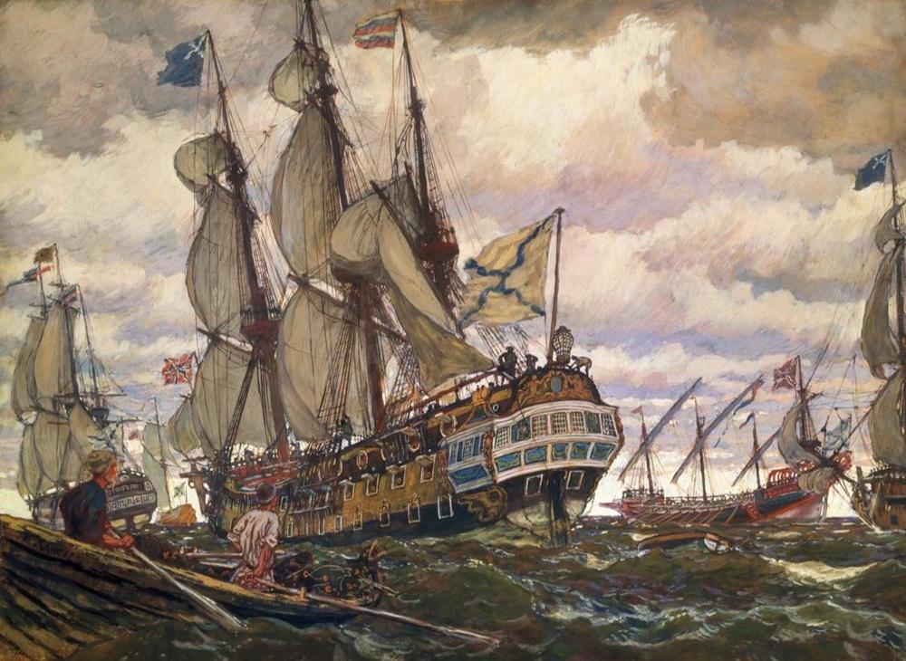 Efter att ha samlats på Åland skickades nästan hela den ryska Östersjöflottan mot den svenska ostkusten. 200 fartyg med 20 000 soldater och kosacker for fram i Stockholms skärgård medan de större slagskeppen vaktade utanför. Målning av fartyg i tsar Peters flotta, Eugene Laceray.