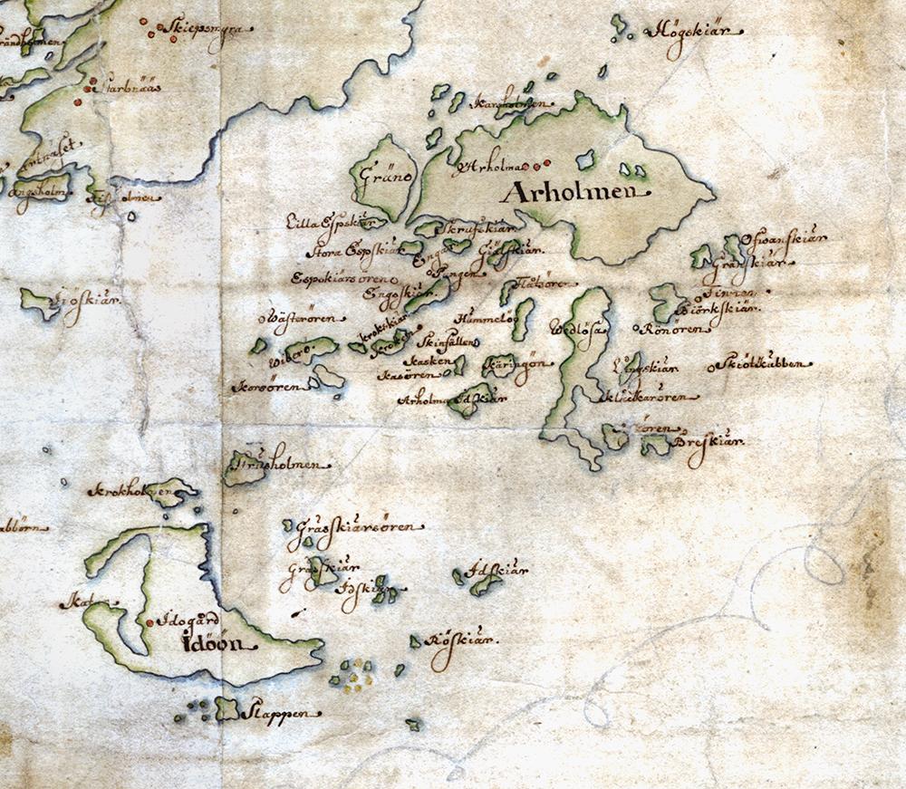 Arholma och Idö på Carl Gripenhielms skärgårdskarta från 1690-talet. Väderstrecken är förvridna.