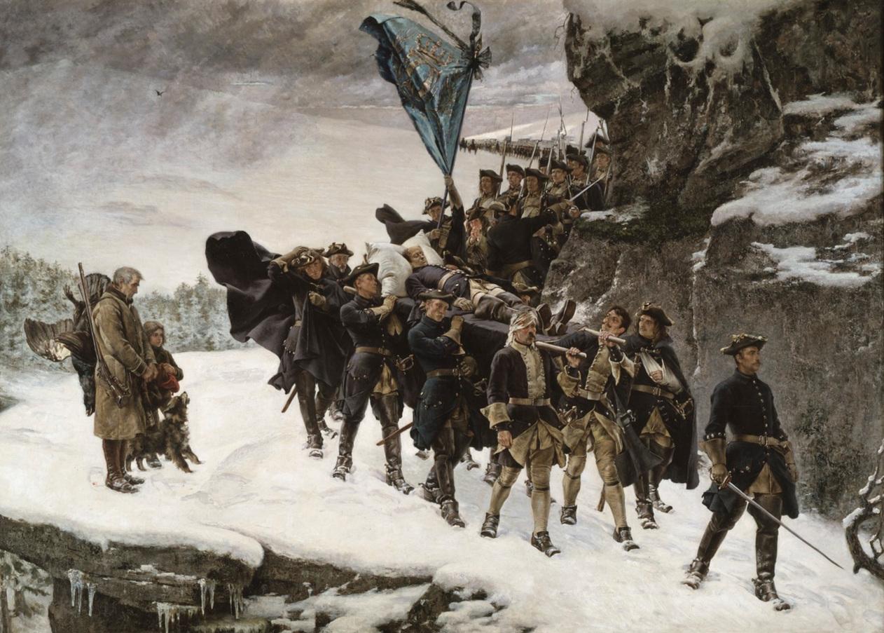 Cederströms romantiserade framställning av Karl XII:s likfärd,1884. Nationalmuseum.