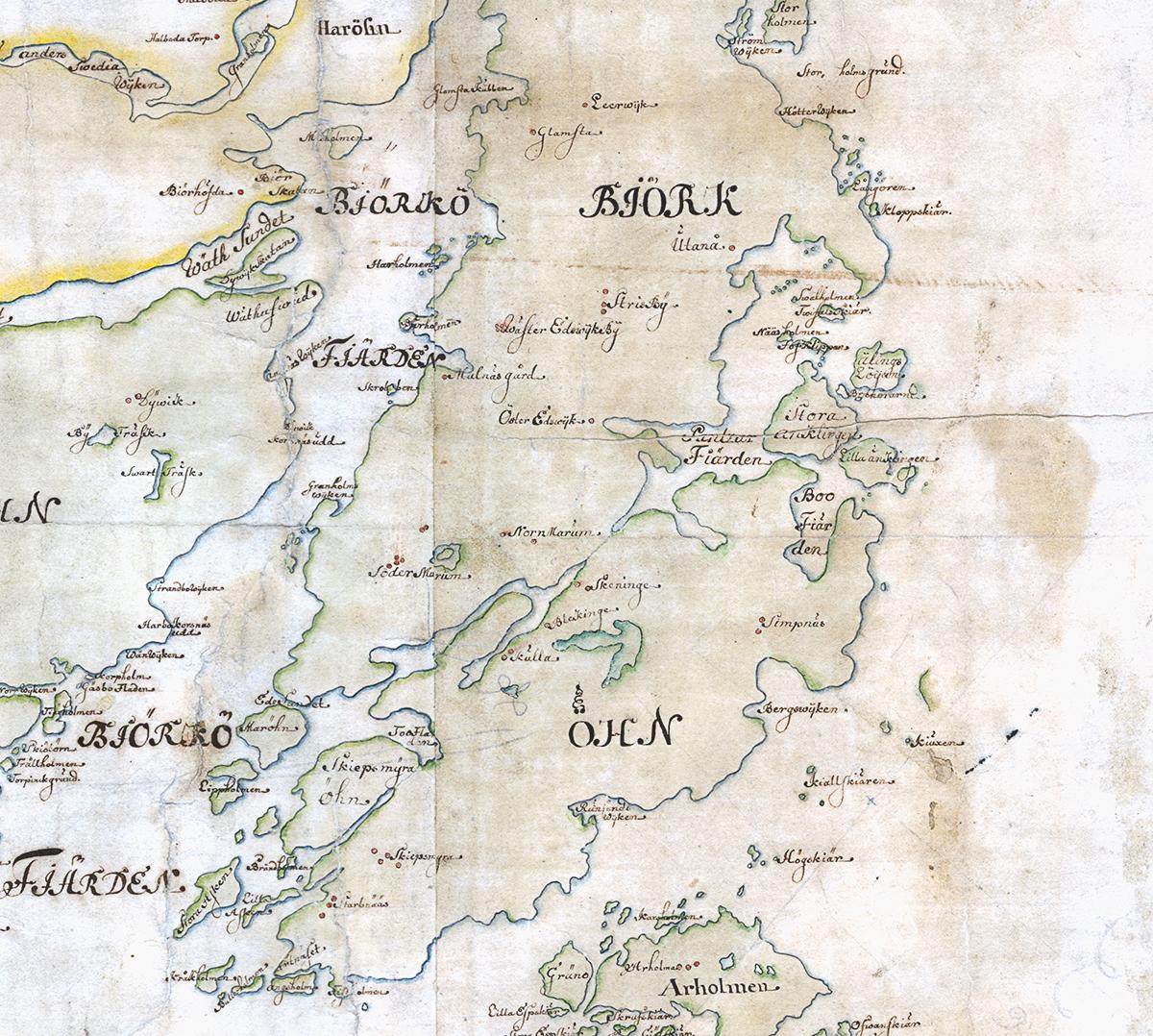 Björkö på Carl Gripenhielms skärgårdskarta från 1690-talet. Väderstrecken är förvridna.