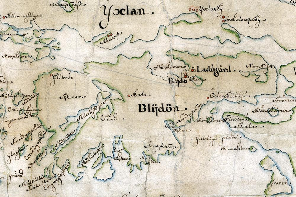 Blidö på Carl Gripenhielms skärgårdskarta från 1690-talet. Väderstrecken är förvridna.