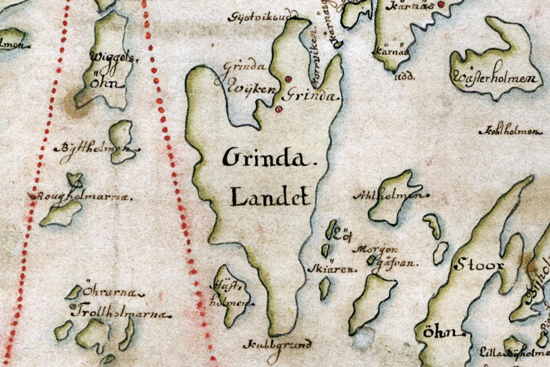 Grinda på Carl Gripenhielms skärgårdskarta från 1690-talet. Väderstrecken är förvridna.