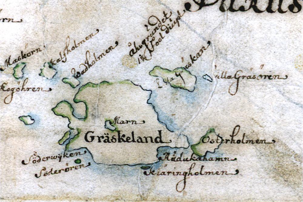 Gräskö på Carl Gripenhielms skärgårdskarta från 1690-talet. Väderstrecken är förvridna.