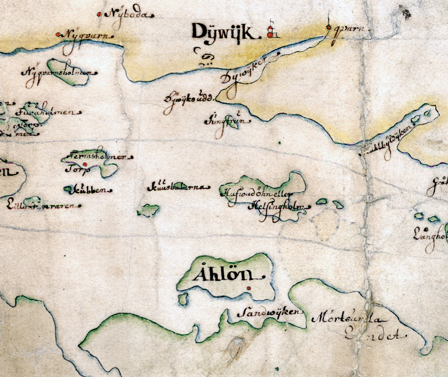 Öarna i Furusundsleden på Carl Gripenhielms skärgårdskarta från 1690-talet. Väderstrecken är förvridna.