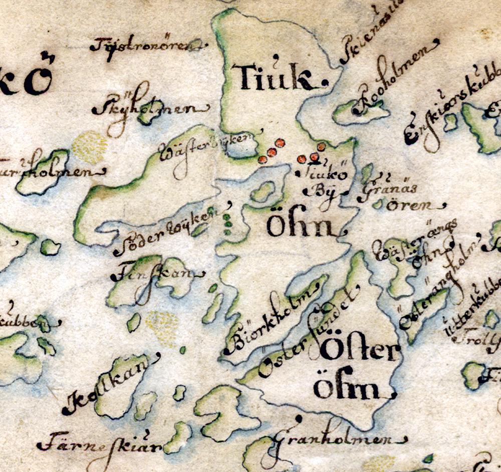 Tjockö på Carl Gripenhielms skärgårdskarta från 1690-talet. Väderstrecken är förvridna.