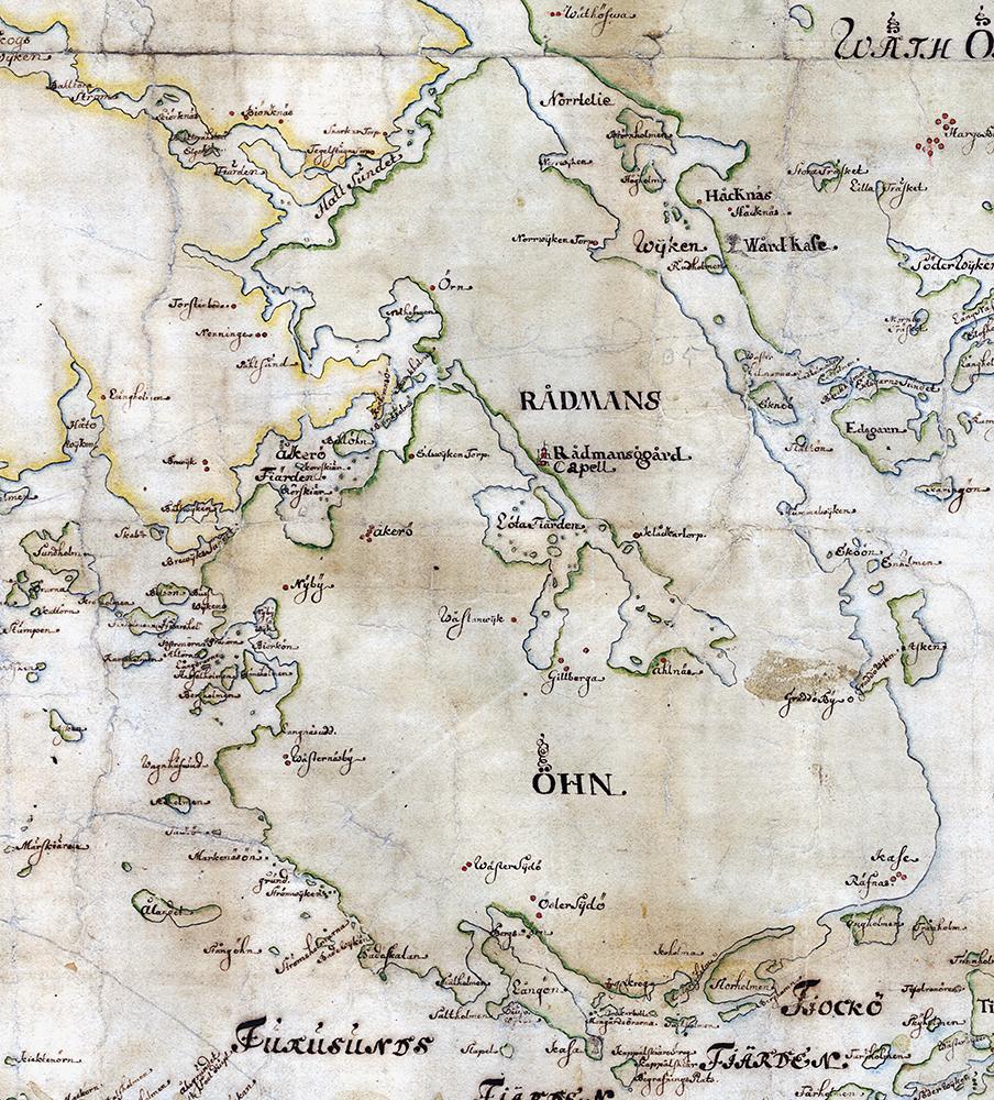 Rådmansö på Carl Gripenhielms skärgårdskarta från 1690-talet. Väderstrecken är förvridna.
