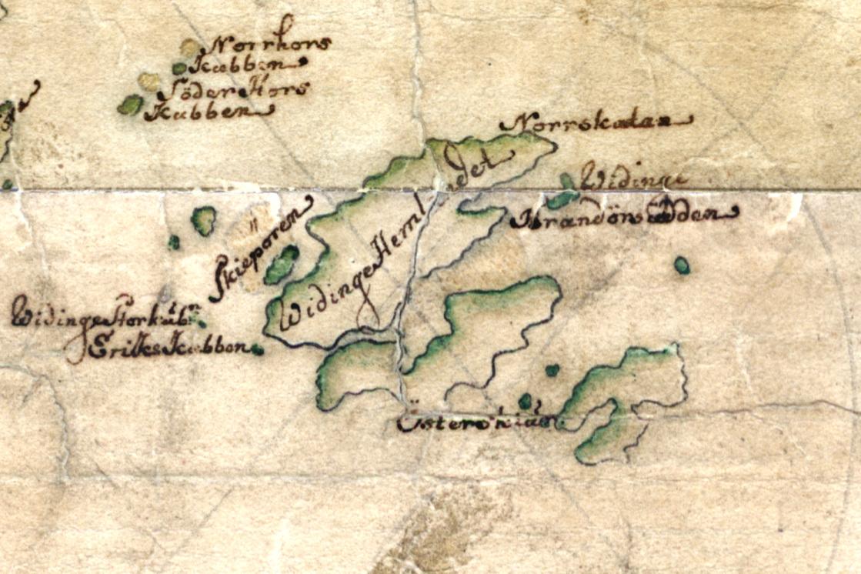 Vidinge på Carl Gripenhielms skärgårdskarta från 1690-talet. Väderstrecken är förvridna.