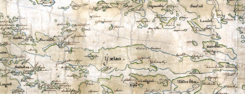 Yxlan och Halsö (Furusund) på Carl Gripenhielms skärgårdskarta från 1690-talet. Väderstrecken är förvridna.