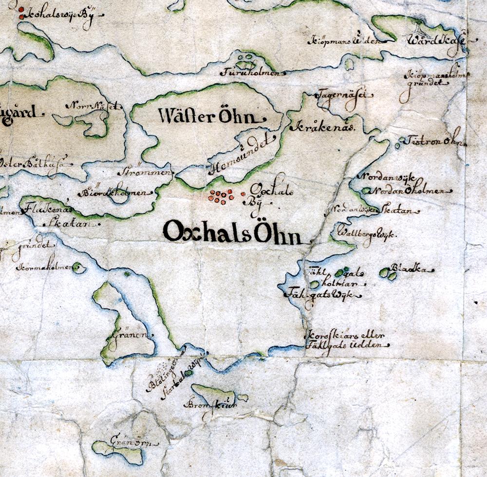 Oxhalsö på Carl Gripenhielms skärgårdskarta från 1690-talet. Väderstrecken är förvridna.