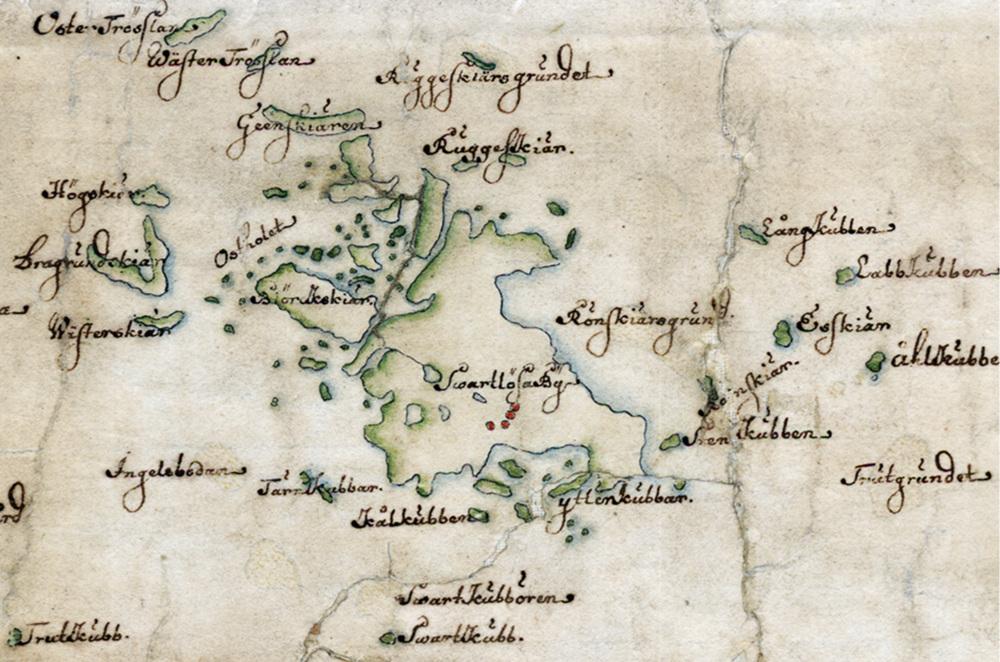 Svartlöga på Carl Gripenhielms skärgårdskarta från 1690-talet. Väderstrecken är förvridna.