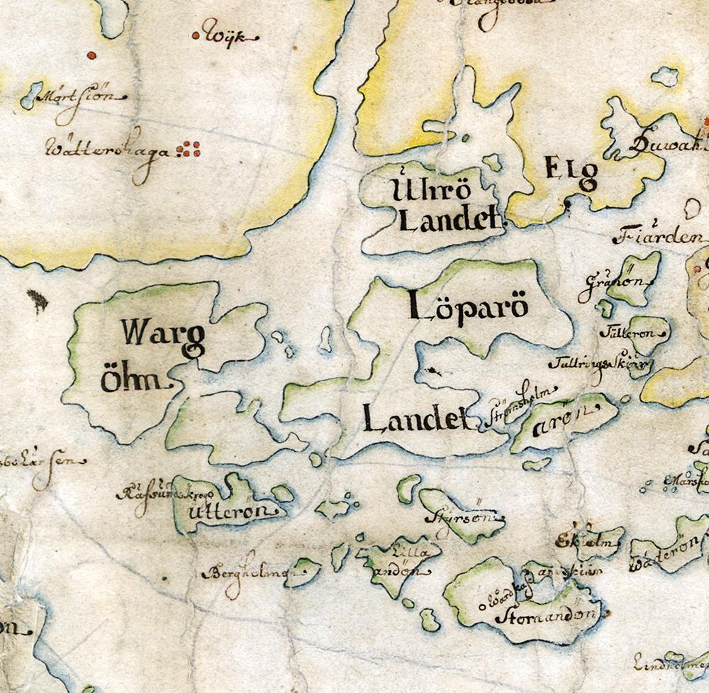 Väringsö kallas Wargöhn på Carl Gripenhielms skärgårdskarta från 1690-talet. Väderstrecken är förvridna.