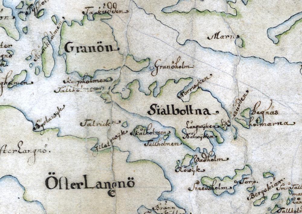 Själbottna och Smedsholmen på Carl Gripenhielms skärgårdskarta från 1690-talet. Väderstrecken är förvridna.