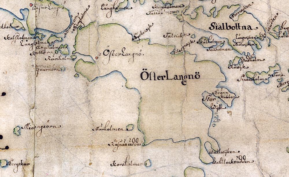 Östra Lagnö på Carl Gripenhielms skärgårdskarta från 1690-talet. Väderstrecken är förvridna.