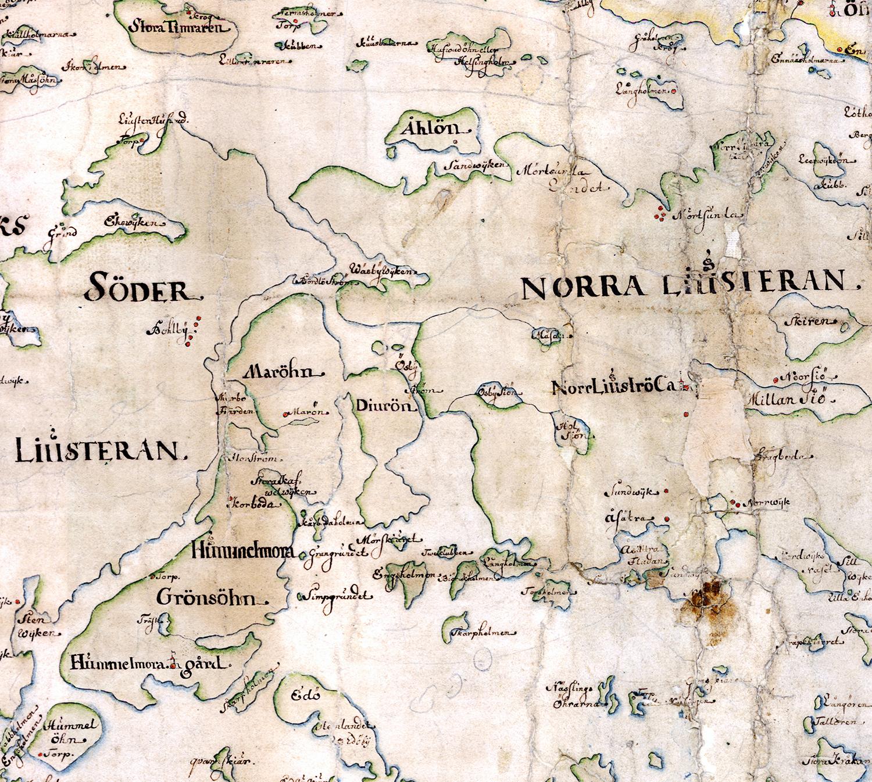 Norra och Södra Ljusterö, Grönsöhn, Maröhn och Djuröhn på Carl Gripenhielms skärgårdskarta från 1690-talet. Väderstrecken är förvridna.
