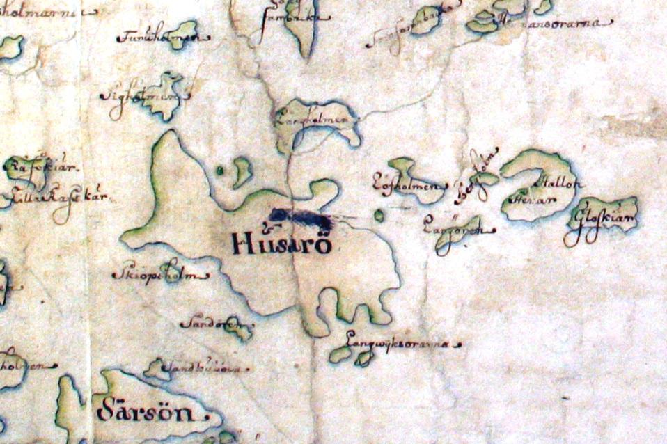 Husarö på Carl Gripenhielms skärgårdskarta från 1690-talet. Väderstrecken är förvridna.