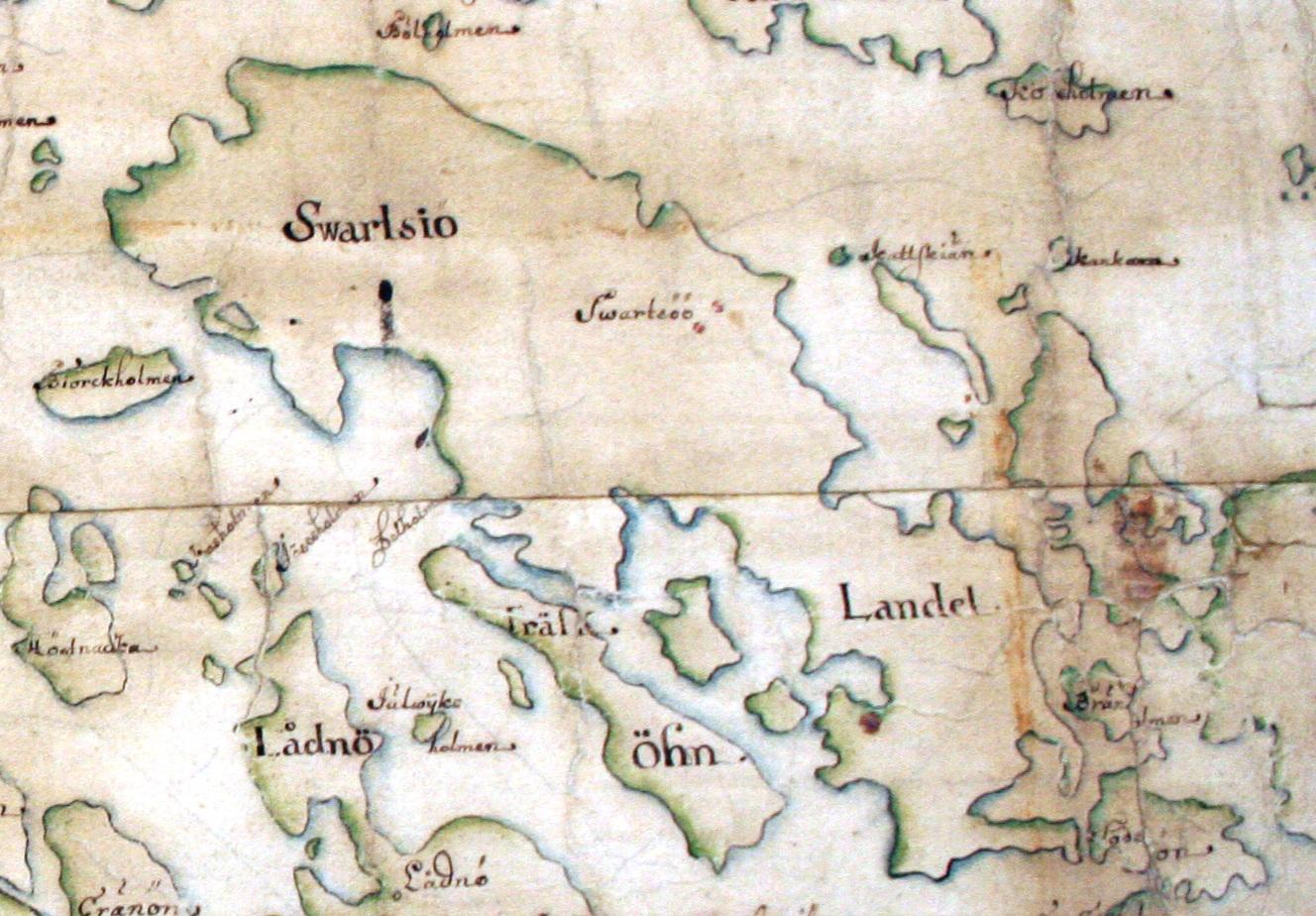 Svartsö och Träskö på Carl Gripenhielms skärgårdskarta från 1690-talet. Tyvärr är kartan skadad i denna del. Väderstrecken är förvridna.