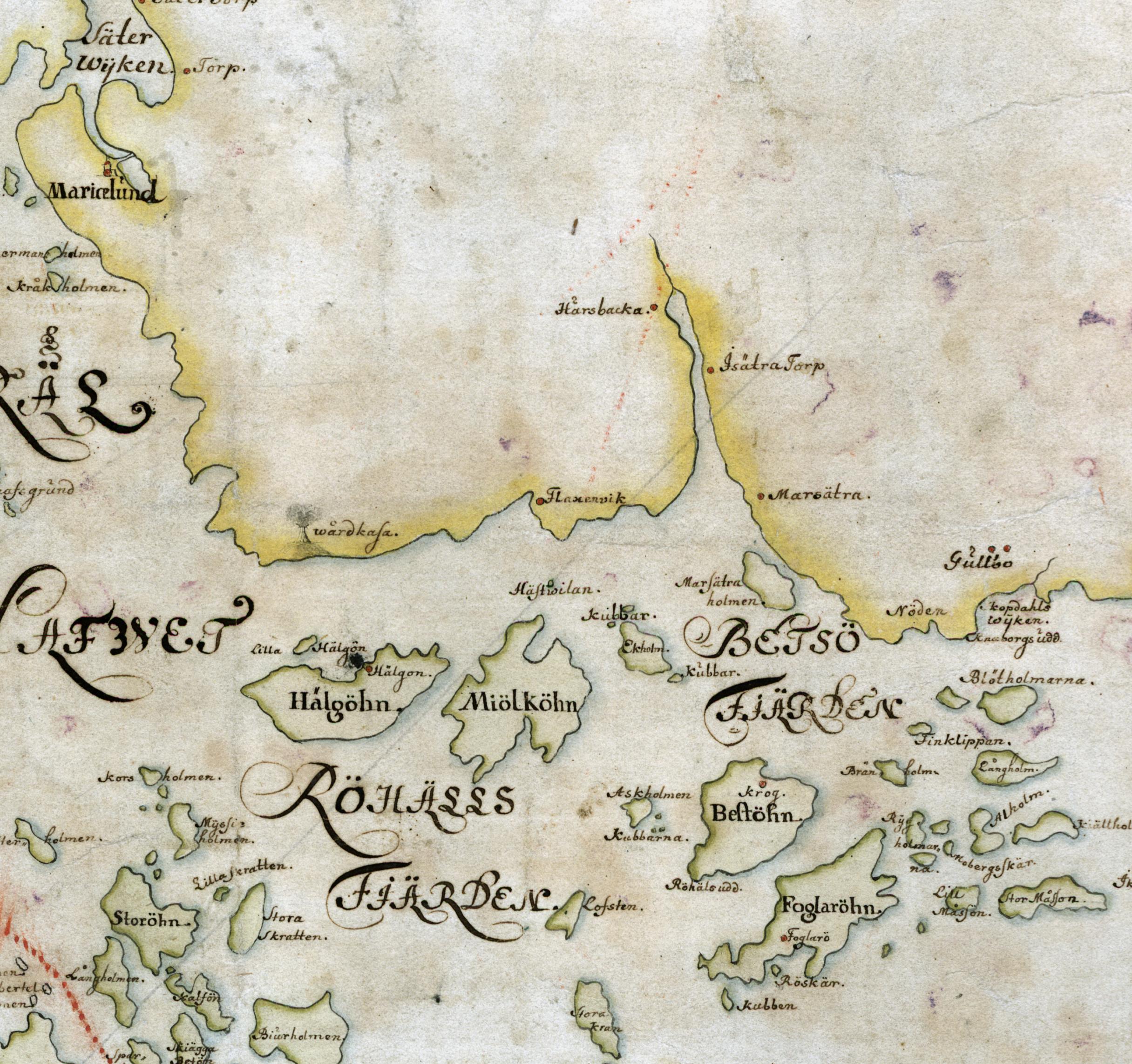 Öarna i Betsöfjärden på Carl Gripenhielms skärgårdskarta från 1690-talet. Väderstrecken är förvridna.