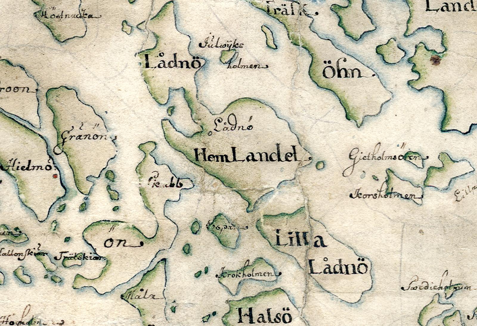 Lådna och grannöar på Carl Gripenhielms skärgårdskarta från 1690-talet. Väderstrecken är förvridna.