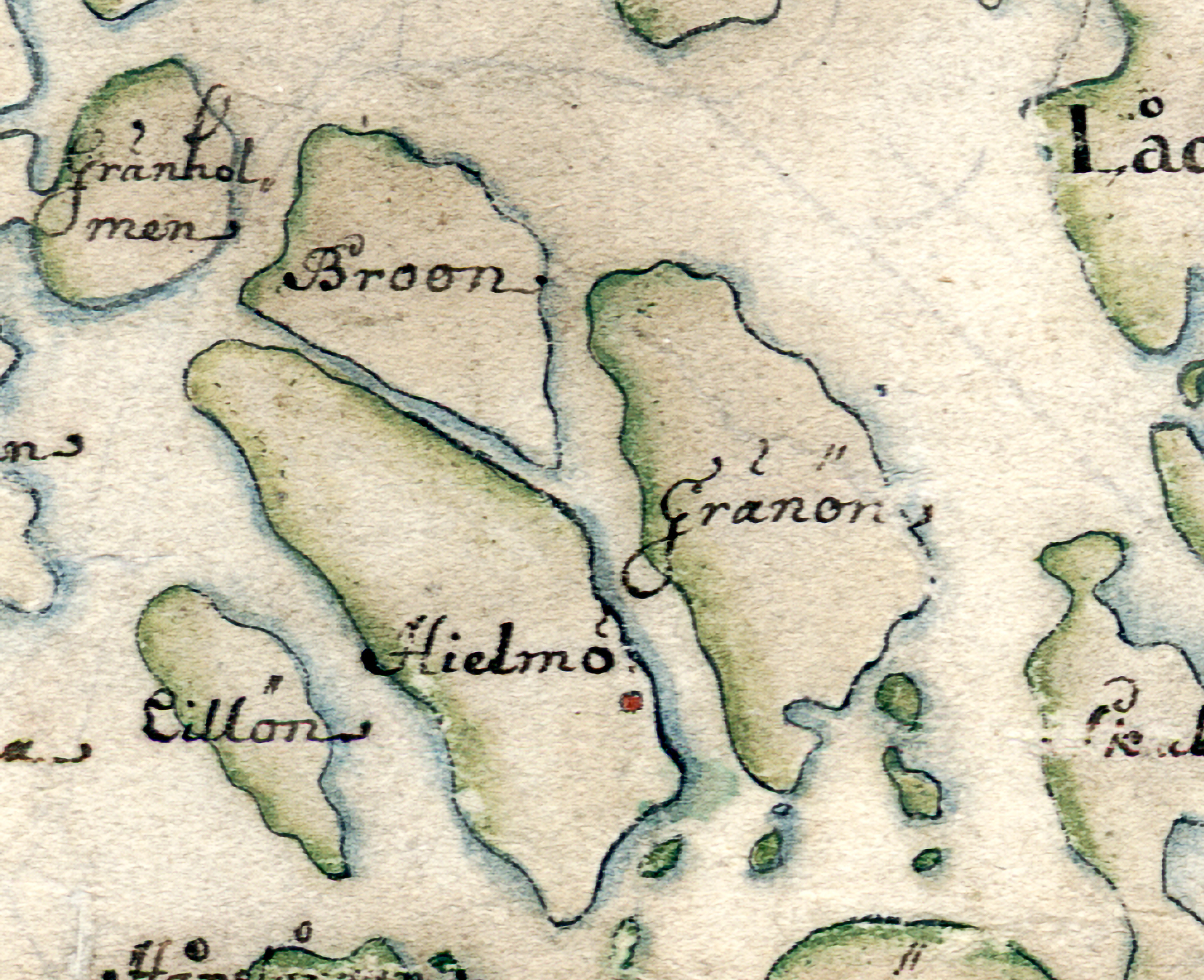 Hjälmö, Broön och Gränö på Carl Gripenhielms karta från 1690-talet. Väderstrecken är förvridna.