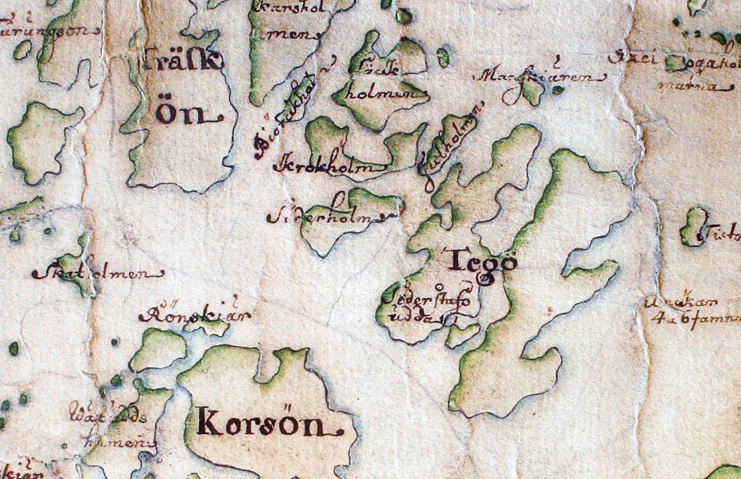 Södra Stavsudda kallas Tegö på Carl Gripenhielms skärgårdskarta från 1690-talet. Namnet finns kvar men används vara för den nordöstra delen av ön. Väderstrecken är förvridna.