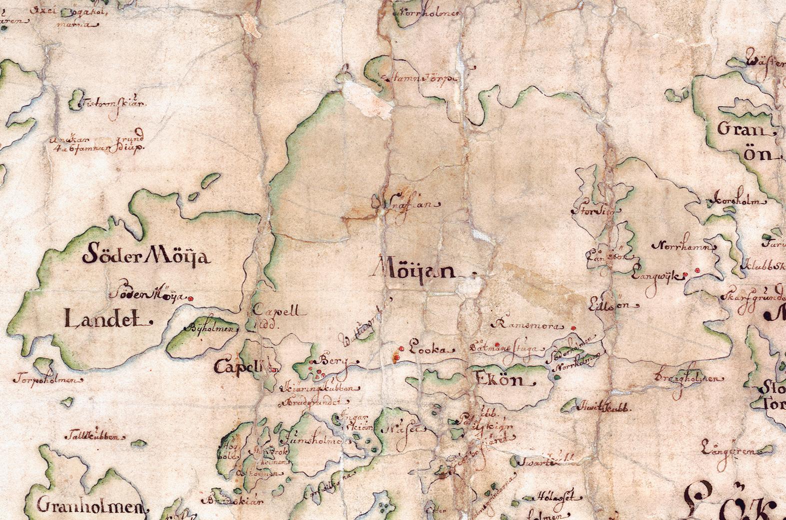 Möja och Södermöja på Carl Gripenhielms skärgårdskarta från 1690-talet. Kartan är tyvärr skadad i denna del. Väderstrecken är förvridna.