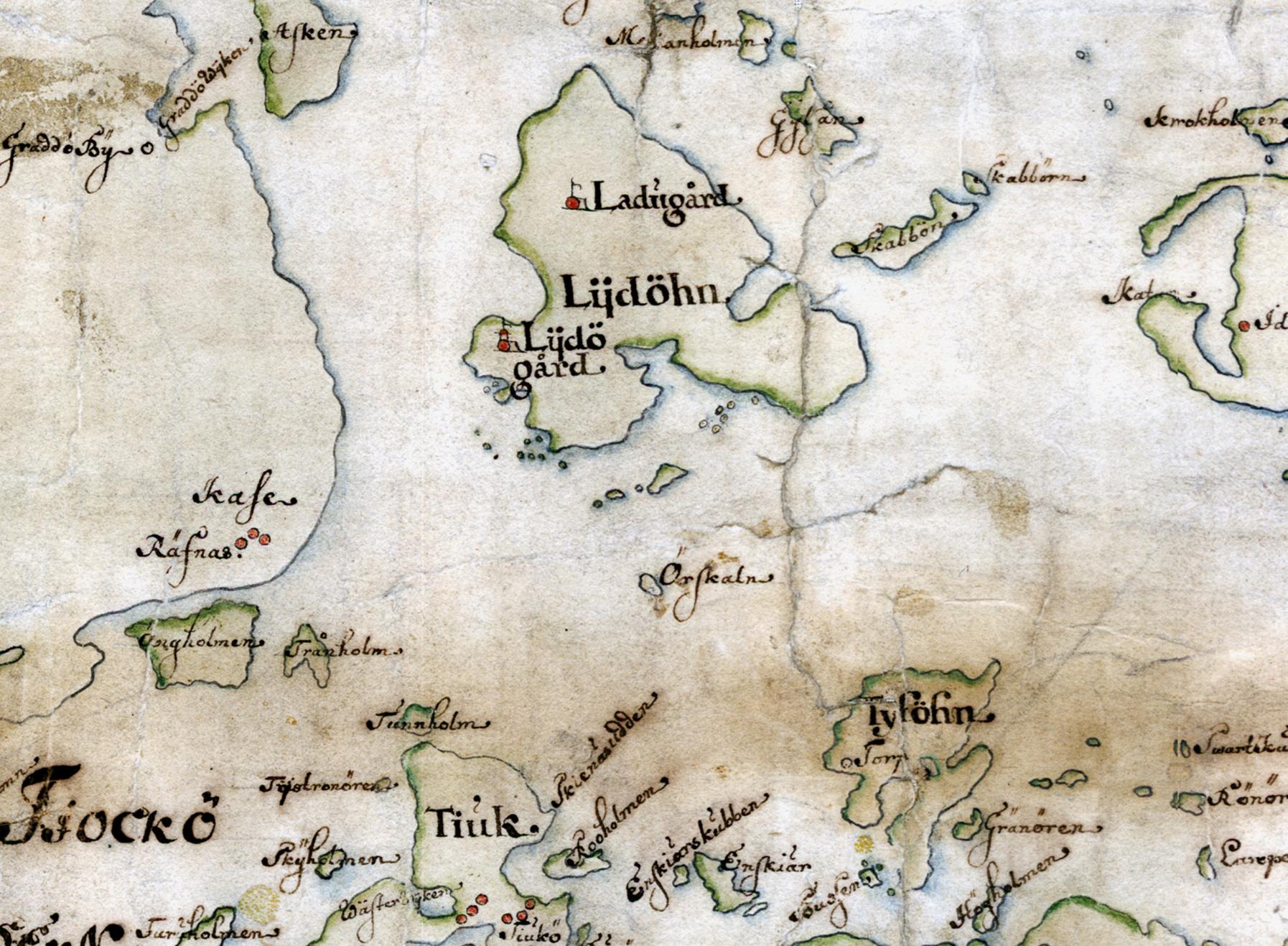 Lidö, Tyvön och omgivningar på Carl Gripenhielms skärgårdskarta från 1690-talet. Väderstrecken är förvridna.