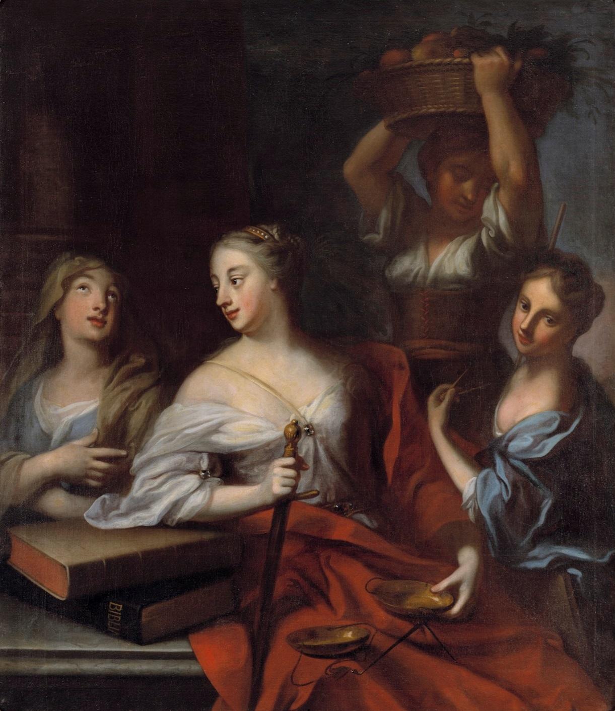 Allegori över de fyra stånden: adel, präster, borgare och bönder. Målning av Georg Engelhard Schröder.