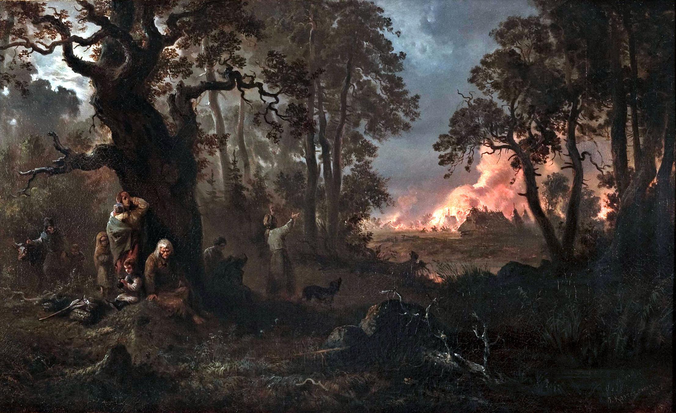 Att angripa och plundra civilbefolkningen för att sedan bränna deras gårdar var vanligt i krigföringen och gjordes även av karolinerna i Ryssland och Polen. Byn brinner – Pozar wsi, målning från 1862 av Franciszek Kostrzewski.