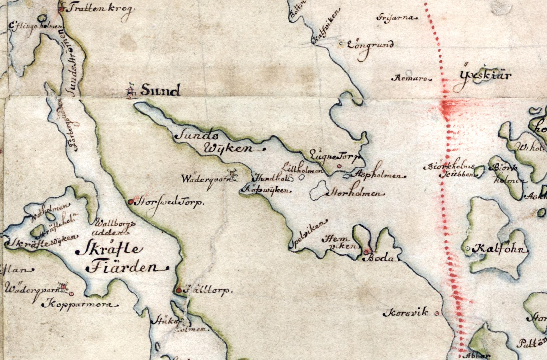 Norra Värmdölandet på Carl Gripenhielms skärgårdskarta från 1690-talet. Väderstrecken är förvridna.