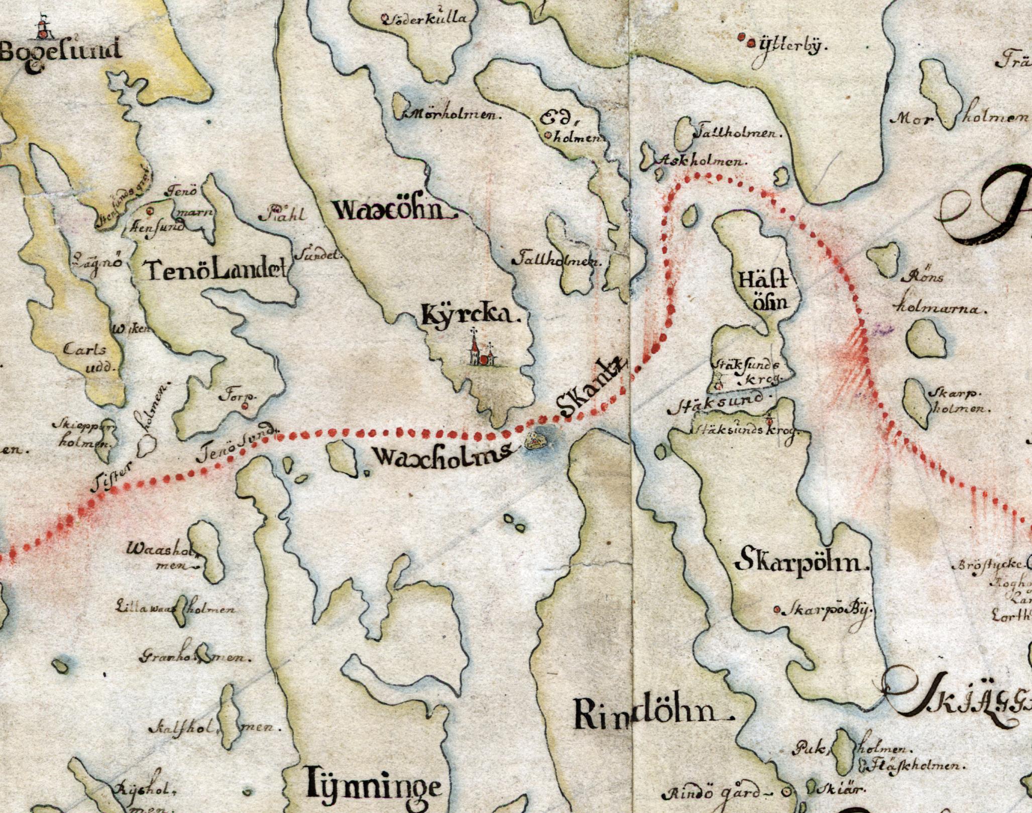 Stegesundet var smalt och grunt redan på 1600-talet, så de större fartygen tog farleden via Kodjupet. Detalj ur Carl Gripenhielms skärgårdskarta från 1690-talet. Väderstrecken är förvridna.