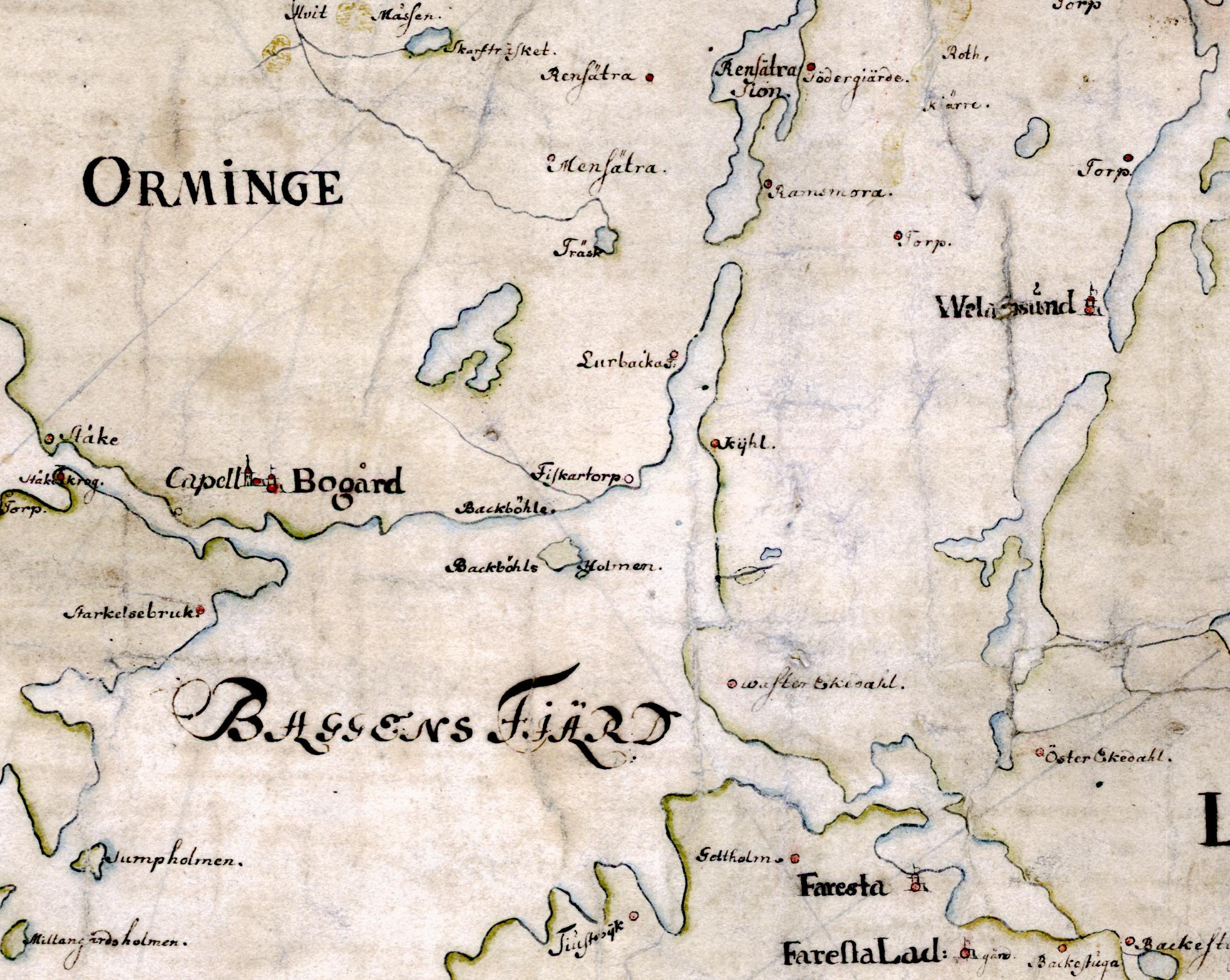 På Carl Gripenhielms skärgårdskarta från 1690-talet syns resterna av de sund som tidigare delade Ormingelandet i tre öar: Hargsö, Yrminge och Yttre Yrminge.