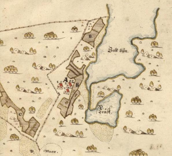 Detalj av 1630 års skattläggningskarta över Djurö by av Sven Månsson. Lantmäteriet. Klicka för att se hela kartan.