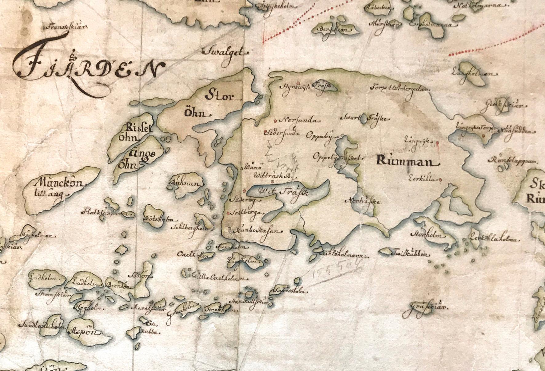 Runmarö och närliggande öar på Carl Gripenhielms skärgårdskarta från 1690-talet. Väderstrecken är förvridna.