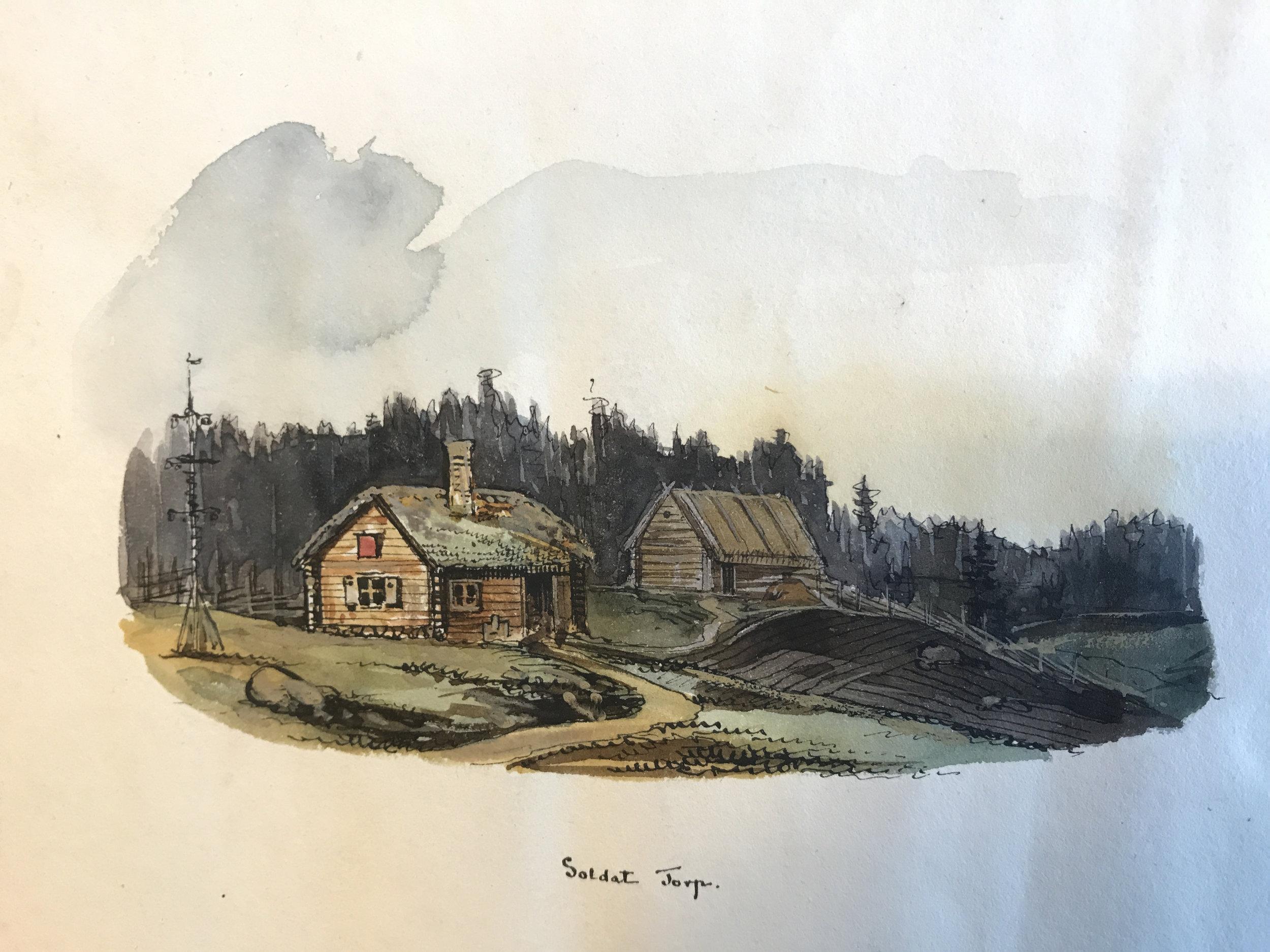 En av de få avbildningar som finns av ett soldattorp, akvarell av Gustaf Söderberg, 1837. Krigsarkivet. Båtsmanstorpen hade samma utformning.