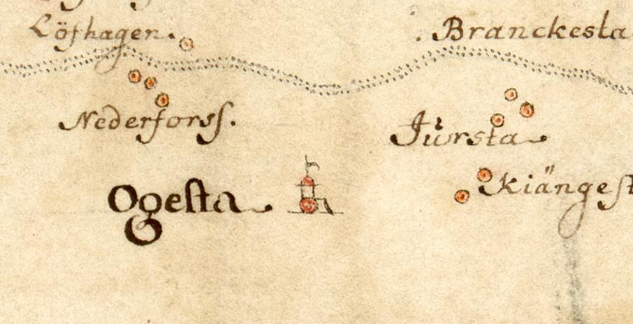 Ogesta säteri. Detalj av Carl Gripenhielms skärgårdskarta från 1690-talet.