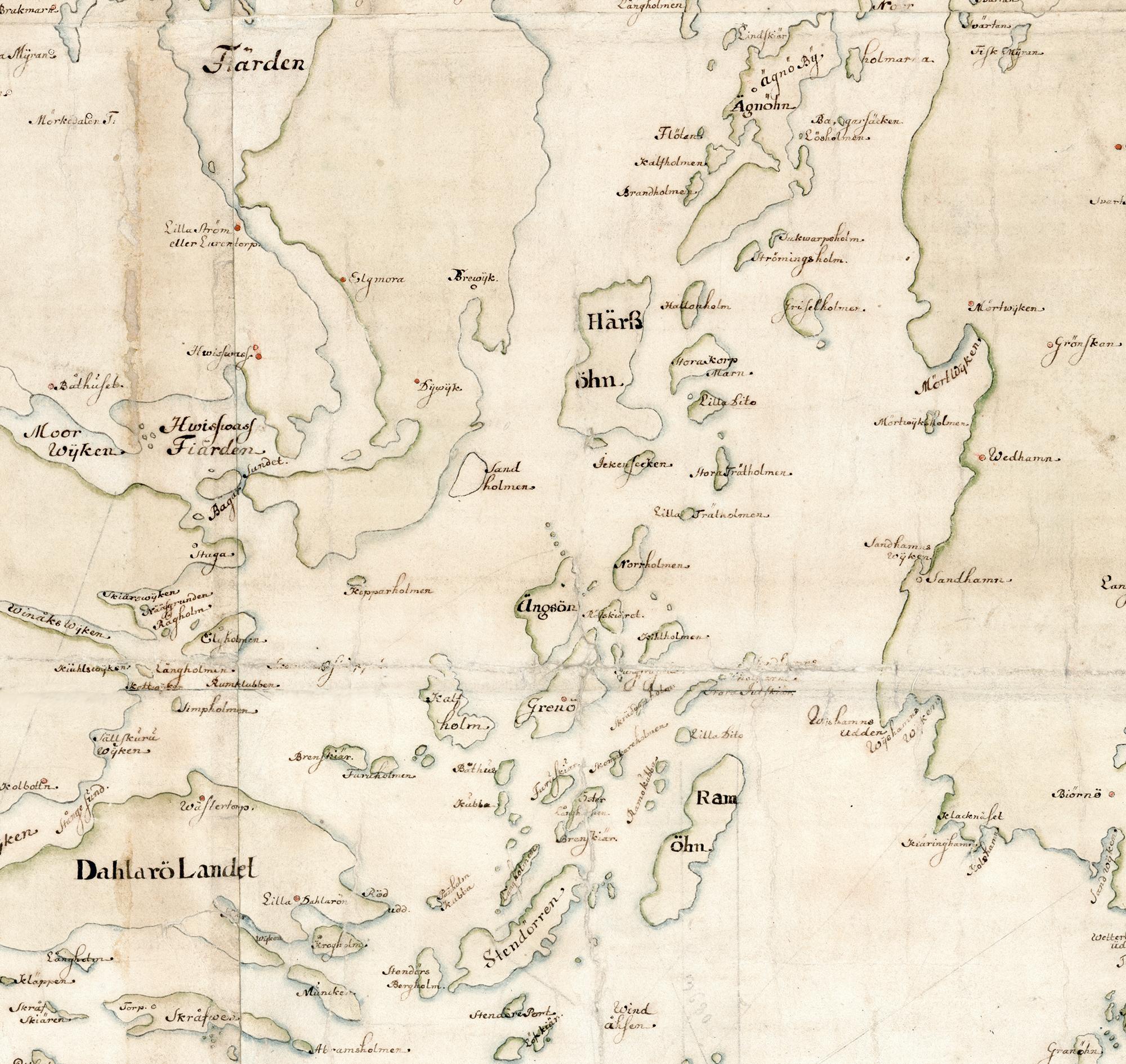 Ingaröfjärden på Carl Gripenhielms skärgårdskarta från 1690-talet. Väderstrecken är förvridna.