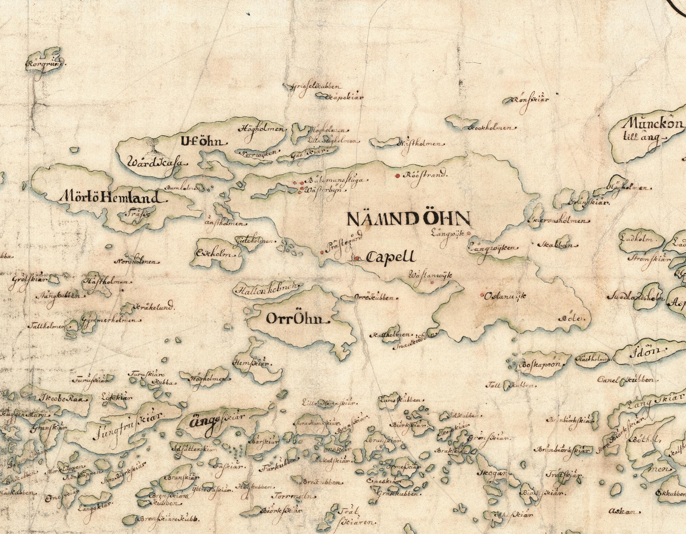 Nämdö med kringliggande öar och skär. Detalj av Carl Gripenhielms skärgårdskarta från 1690-talet. Väderstrecken är förvridna.