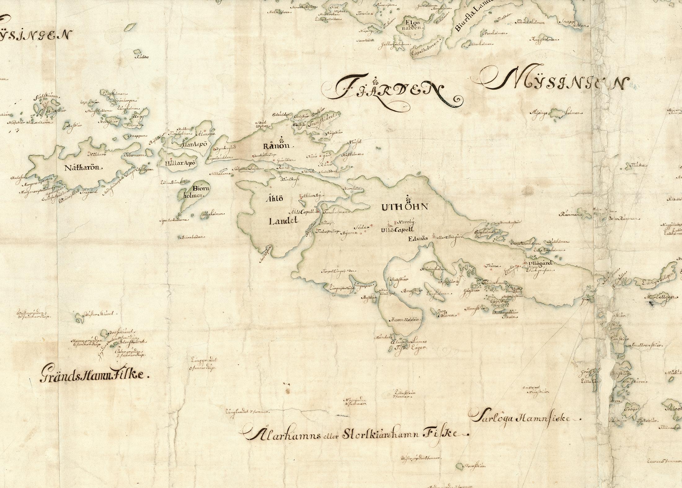 Utö, Ålö, Rånö, Nåttarö och angränsande öar på Carl Gripenhielms skärgårdskarta från 1690-talet. Väderstrecken är förvridna.